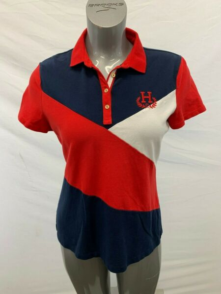 Tommy Hilfiger Polo Shirt Women#x27;s Large Red White Blue Cotton Blend Short Sleeve $23.99