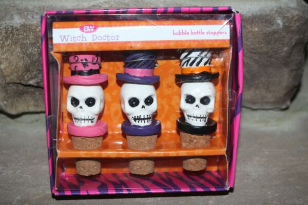 NEW 3 WITCH DOCTOR SKULLS W TOP HATS BOBBLE BOTTLE WINE STOPPERS PINK PURPLE