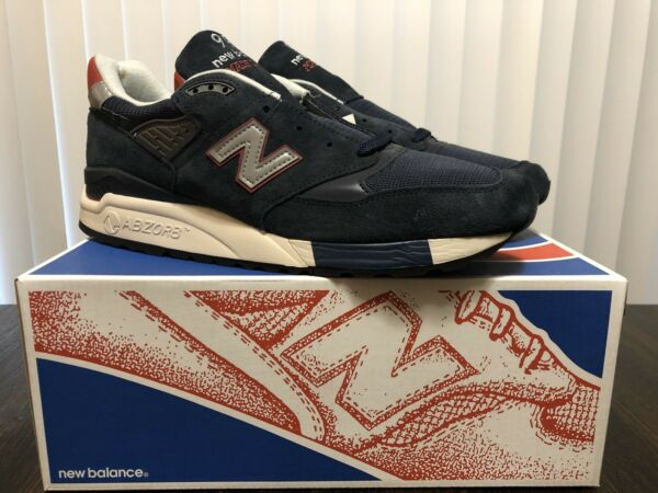 J Crew New Balance 998 M998JC1 Navy Suede Sneakers Mens Size 11 Made In USA NEW