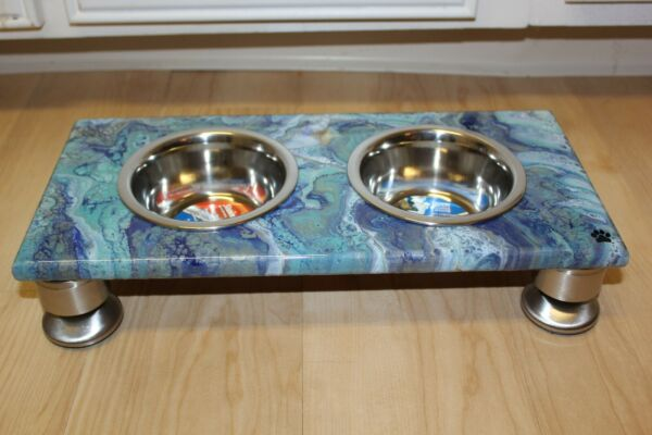 Raised Dog Cat Feeding Table with 1pt Bowls BLUE Rectangle $65.00