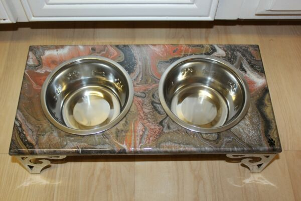 Raised Dog Cat Feeding Table with 1QT Bowls BROWN amp; BRONZE $75.00