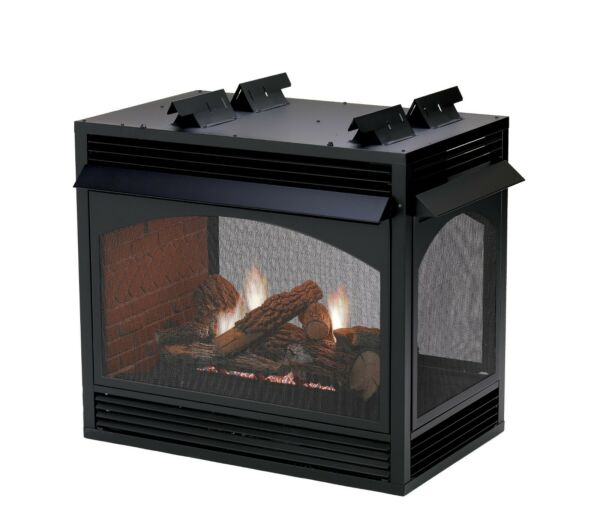 Empire White Mountain Vail Vent Free Fireplace See-Through MV Banded Brick NG