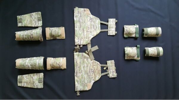 Set of 3a protection elements: for arms elbow&knee pads thigh shin MultiCam