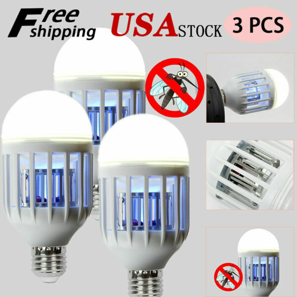 3pcs Mosquito LED Zapper Light Bulbs Indoor Fly Bug Killer Lamp Outdoor 15W USA