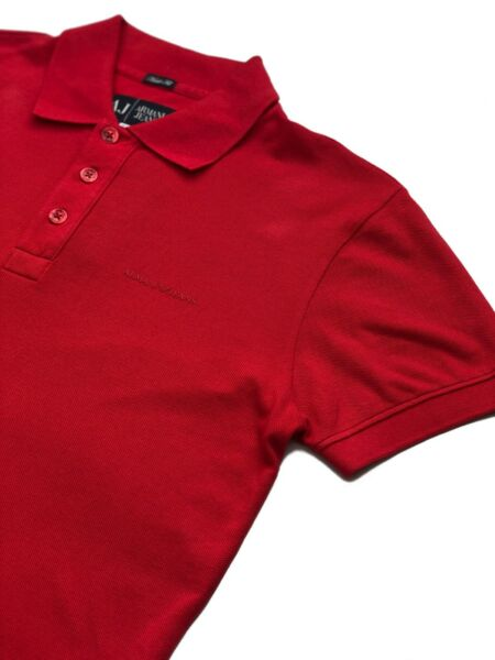 Armani Jeans Mens Designer Polo Shirt Short Sleeve Cotton Pique Top Red NEW
