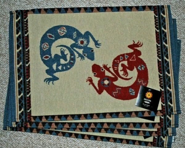 SET OF 4 TAPESTRY PLACE MATS SOUTHWEST TRIBAL DESIGN LIZARDS MULTI COLORS NWT