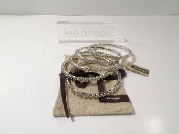 Lee Angel for Neiman Marcus Women#x27;s Crystal and Gold Bangle Set NWT 98 $17.00