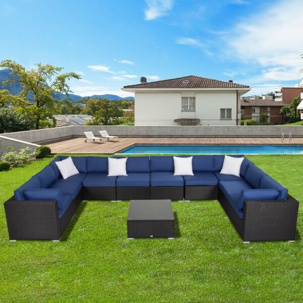 2 11PC Patio Rattan Wicker Sofa Set Cushined Couch Sectional Outdoor Furniture $369.99
