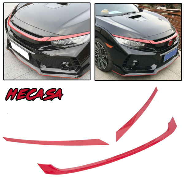 FOR 2016-2019 HONDA CIVIC JDM GLOSSY RED ABS FRONT GRILL TRIM COVER GARNISH- 3PC