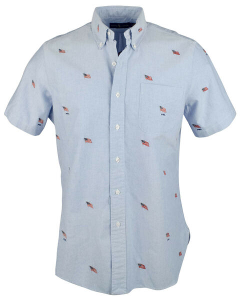 Ralph Lauren Men#x27;s Embroidered Flag Short Sleeve Shirt