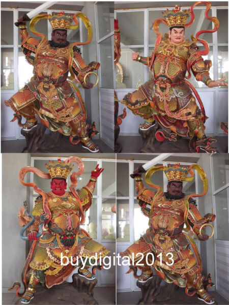 Chinese Camphorwood wood Four Heavenly Kings deity celestial soldier sculpture