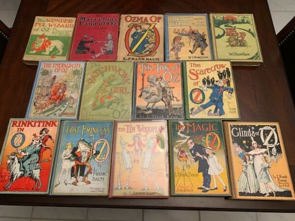 STOCKS-Down RARE SET-UP. Complete set of 14 Frank Baum first editions Oz books