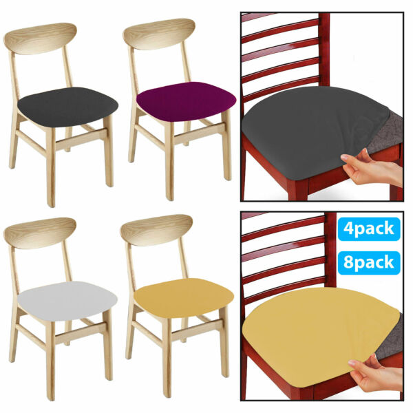 4 8pc Removable Elastic Stretch Slipcovers Dining Spandex Chair Seat Cover Decor $8.97