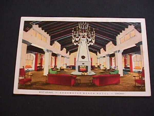 WEST LOUNGE EDGEWATER BEACH HOTEL CHICAGO ILLINOIS POSTCARD