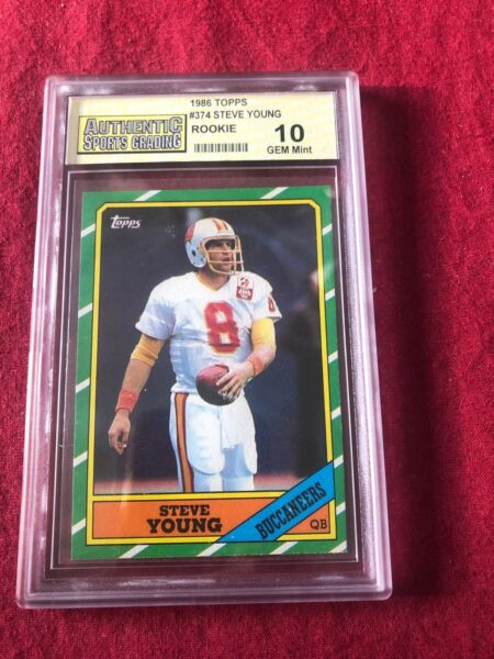 1986 Topps Steve Young Tampa Bay Buccaneers #374 Football Card PSA 10