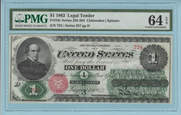 Fr. 16c. 1862 $1 Legal Tender Note. PMG Choice Uncirculated 64 EPQ.