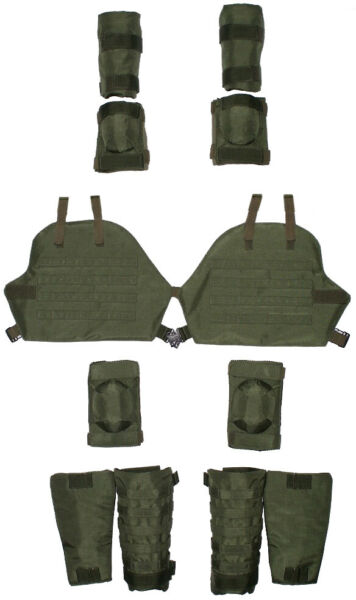 Set of 3a protection elements: for arms elbow&knee pads thigh shin Green