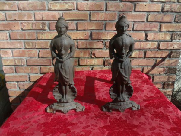 """Antique Lady Liberty Cast Iron Fireplace Andirons Fire Dogs - 17.5""""  SET OF 2"""