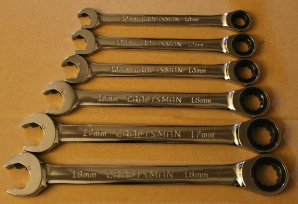 Craftsman 6pc OPEN amp; BOX DUAL Combo Ratcheting Metric MM Ratchet Wrench Set MACH