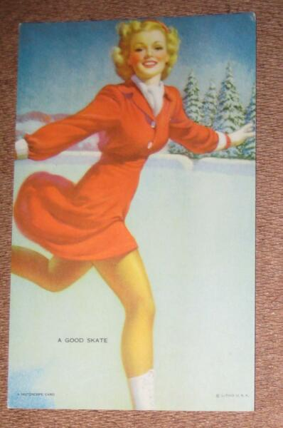 MUTOSCOPE CARD A GOOD SKATE - YANKEE DOODLE GIRLS - LOT AB7