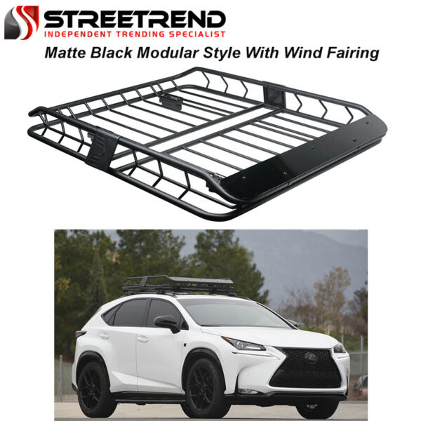 Modular HD Steel Roof Rack Basket Luggage CarrierWind Fairing Matte Black S37 $199.50