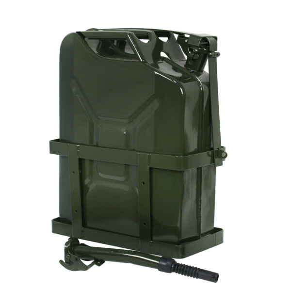 Jerry Can 5 Gallon 20L Gas Gasoline Fuel Army Backup Metal Steel Tank Holder $52.99