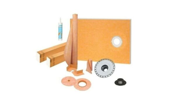 """Schluter Kerdi Shower Kit 38"""" x 60"""" Off with 2"""" PVC FlangeSealant and 4"""" Grate"""