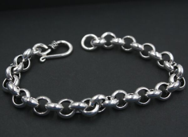 New Pure 925 Sterling Silver Bracelet 8mm Rolo Link Bracelet For Men 19.5cm