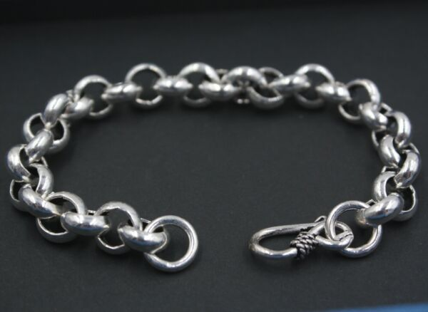 New Pure 925 Sterling Silver Bracelet 10mm Rolo Link Bracelet For Men 20.5cm