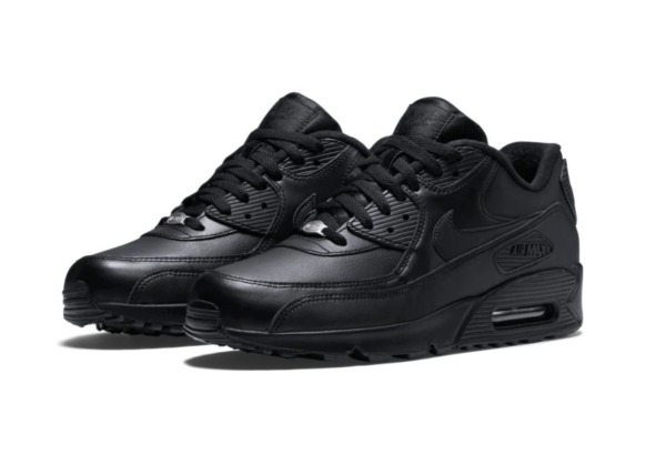 Nike Air Max 90 LTHR Leather Running Shoes Triple Black 302519-001 Men's NEW