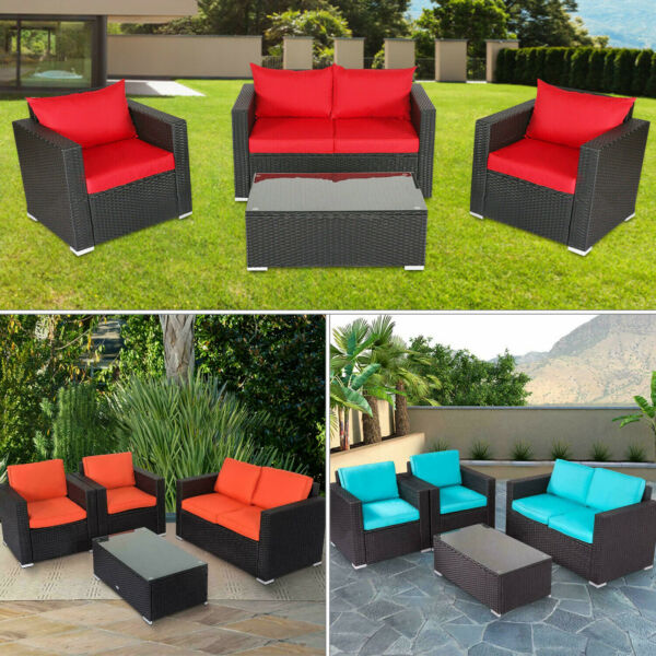 4 PCS Patio Furniture Sectional Sofa Set Outdoor Rattan Wicker Cushioned Couch