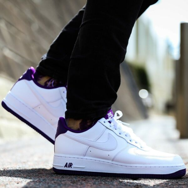 Nike Air Force 1 Low Sneakers Men's Lifestyle Comfy Shoes White/Voltage Purple