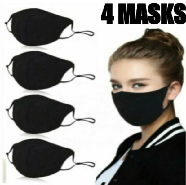 3 Pack Face Mask Three Layer Black Washable Reusable Cotton Cloth Ships From USA