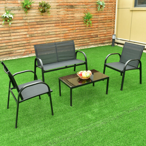 4 PCS Patio Furniture Set Sofa Coffee Table Steel Frame Garden Deck Black New $149.95