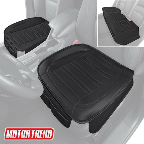 Motor Trend Car Seat Cushions Front and Back Set Black Faux Leather Covers