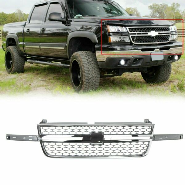 Honeycomb Grille Chrome amp; Gray For 2005 2006 2007 Chevy Silverado Pickup Truck