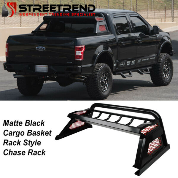 For 2015 2021 Colorado Canyon Matte Black Truck Bed Chase Rack Basket Roll Bar $379.05