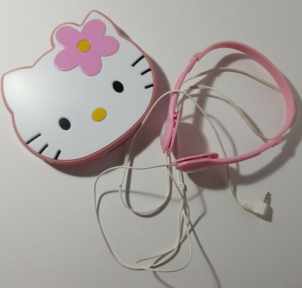 VINTAGE SANRIO HELLO KITTY  CD PLAYER wORIGINAL HEADPHONES for parts only