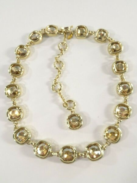 Lee Angel for Neiman Marcus Crystal Curb Chain Gold Link Necklace NWT 250.00 $32.50