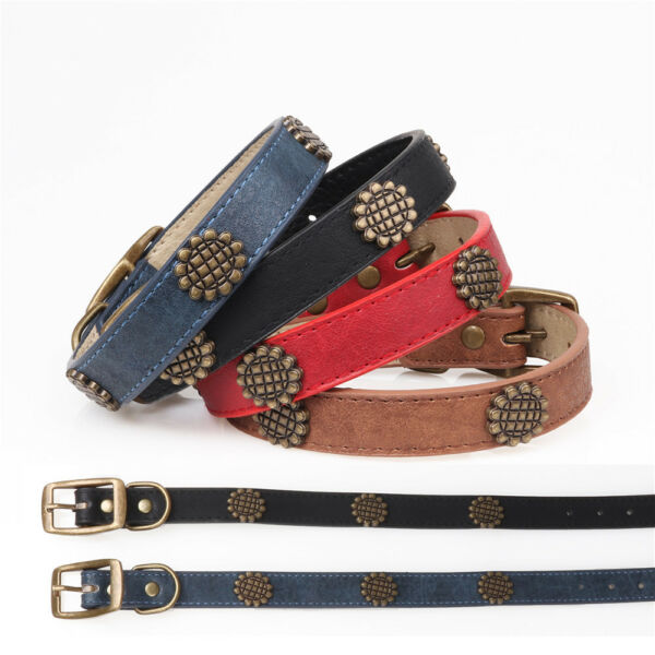 Leather Dog Collar for Medium and Large Sizes Various Color Options $7.99