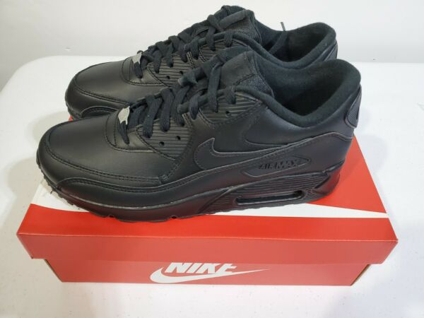 Nike Air Max 90 Leather Triple Black 302519-001 Running SNEAKERS Shoes Men's 10