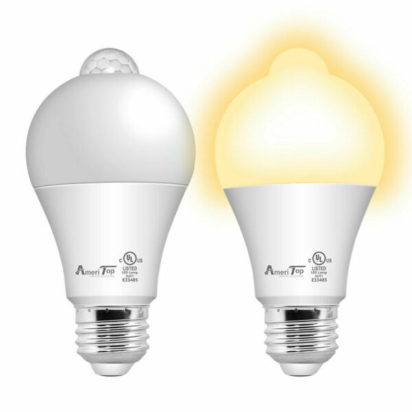 Motion Sensor Light Bulb UL Listed 10W (80W Equivalent) LED Light Bulbs 2 Pack