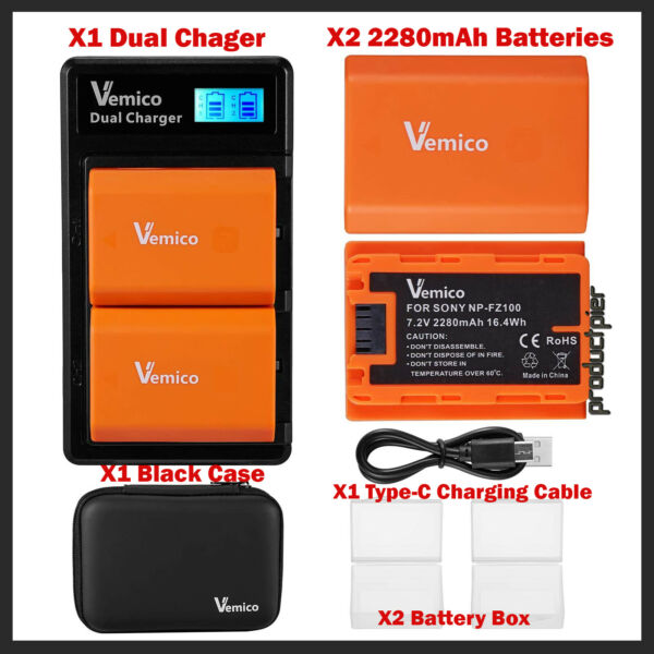 2X NP-FZ100 2280mAh Rechargeable Battery & LCD Dual Charger for BC-QZ1 Alpha 9