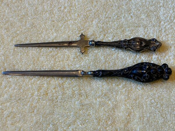 LOT of 2 Antique Sterling Silver Handle Letter Openers