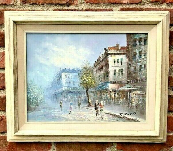 OIL PAINTING ON CANVAS LISTED CAROLINE BURNETT STREET SCENE