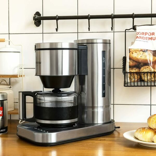BESTEK 10 Cup Drip Coffee Maker in Stainless Steel Programmable Aroma Control