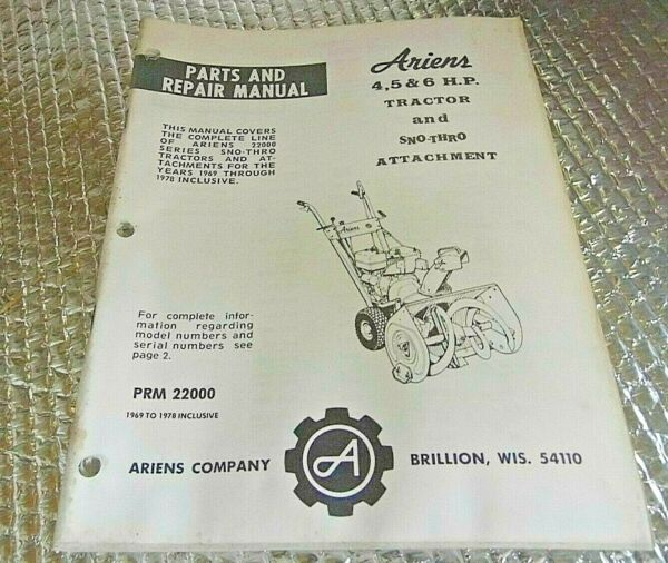 69 78 Ariens Parts amp; Repair Manual 4 5 6 HP Tractor amp; Snow thro Attachment