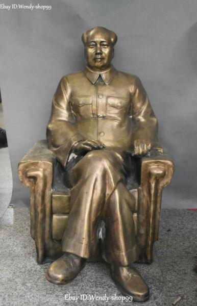 Old Chinese Bronze People Chairman Great Man Mao Zedong Seat Chair Statue
