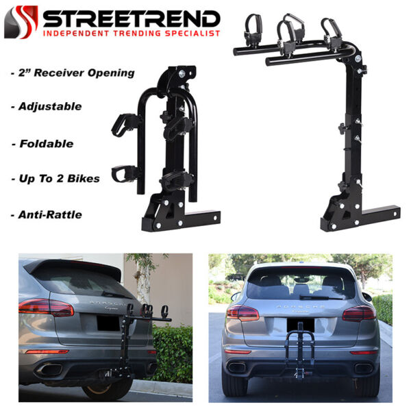 Hitch Mount Bike Rack 2 Bicycle Style Adjustable Foldable Trailer Carrier 2quot; SE $147.25
