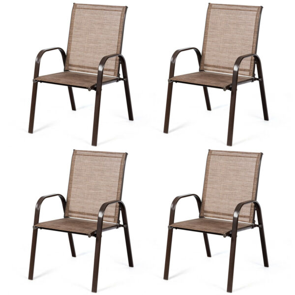 4 PCS Patio Chairs Outdoor Dining Chair Heavy Duty Steel Frame w Armrest Brown $195.95